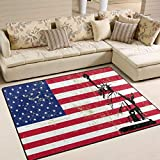 Use7 Estatua de la Libertad Bandera Americana Vintage Alfombra Alfombra Alfombra para salón Dormitorio, Tela, 160cm x 122cm(5.3 x 4 Feet)