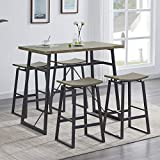 Homissue 5-Piece Pub Height Bar Table with 4 Stools, Dining Room Table Set for Breakfast Nook, Living Room, Mini Bar or Patio, Light Oak