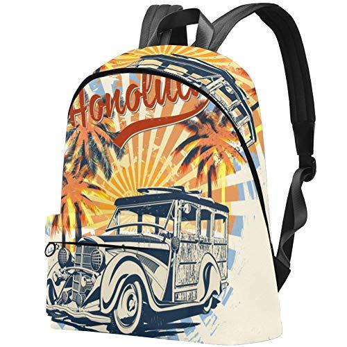 TIZORAX Honolulu - Tipografía para Camiseta, patrón Personalizado, Gran Capacidad, Mochila Duradera, Bonita Mochila Impermeable para portátil