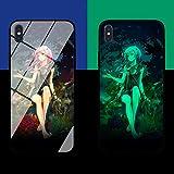 Carcasa de Telefono,Funda Protectora para iPhone Funda para Teléfono 3D Carcasa de Vidrio Templado Brillo Nocturno Hembra Anime Antifricción Serie (Compatible con iPhone 8)
