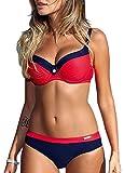 Bequemer Laden Damen Bikini Sets Bademode Badeanzug Push Up Bikini mit Verstellbarem Schulterriemen, Rot, M