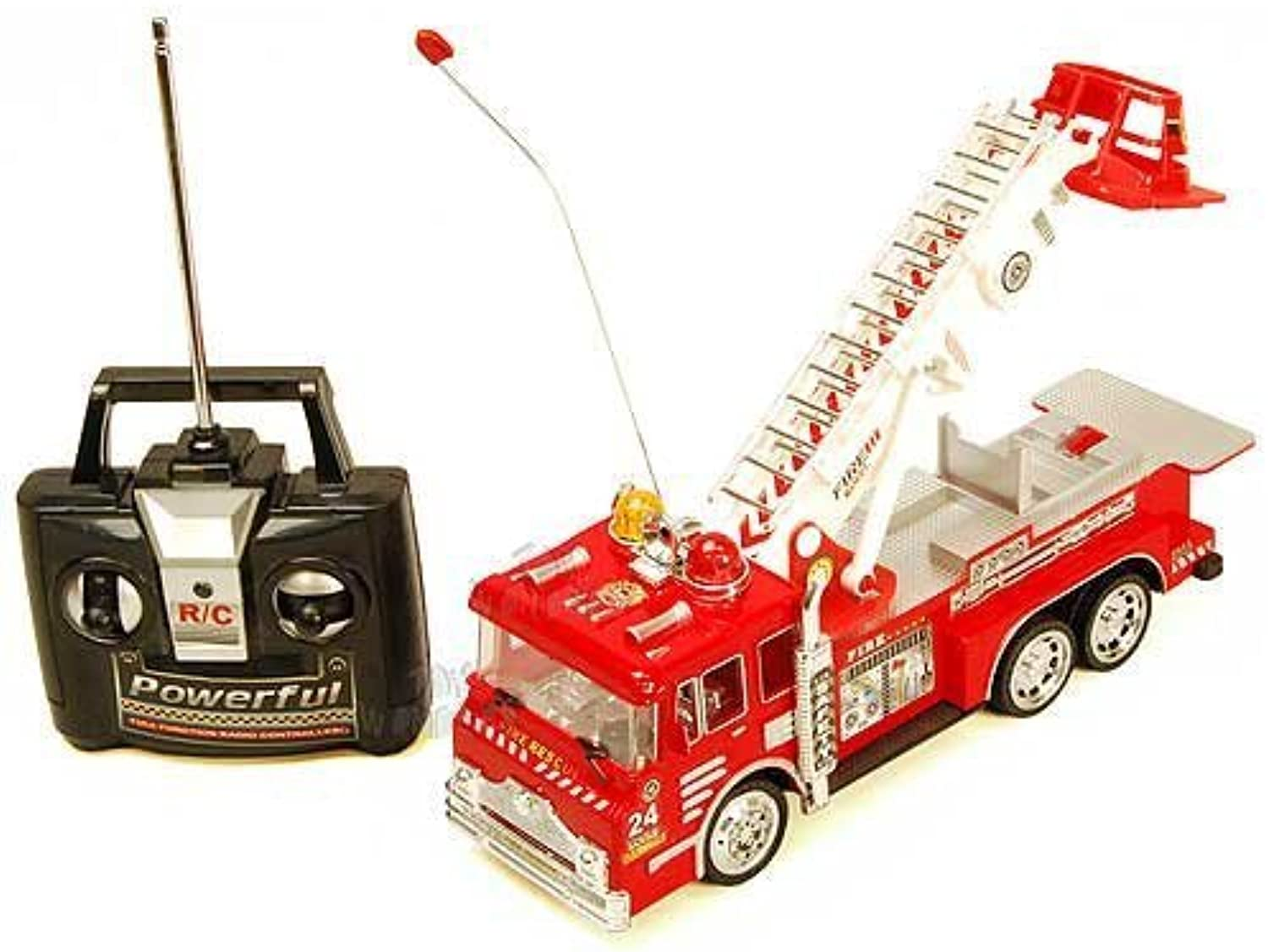 10 R C Rescue Fire Engine Truck Remote Control Kids Toy with Extending Ladder & Lights by Rescue Zero Team
