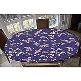 LCGGDB Mantel ajustable de poliéster elástico japonés, con diseño de kimono oriental chino con ramas de cerezo Sakura floreciente, para mesas de hasta 122 cm de ancho x 172 cm de largo