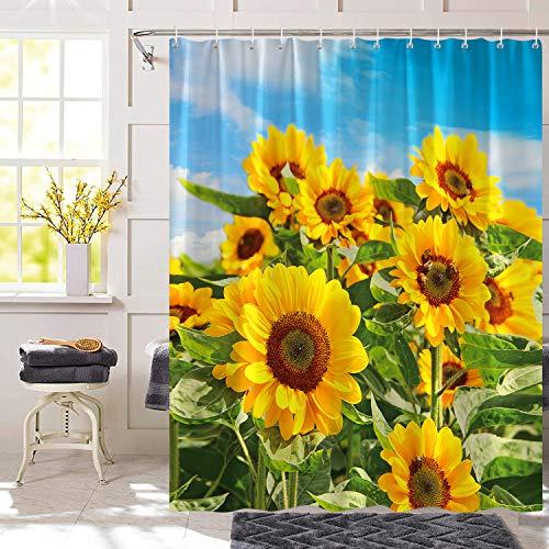 Bonhause Duschvorhang 180 x 180 cm Sonnenblume Gelbe mit Blauer Himmel Duschvorhänge Anti-Schimmel Wasserdicht Polyester Stoff Waschbar Bad Vorhang für Badzimmer mit 12 Duschvorhangringen