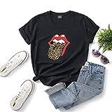 Leopardo de las mujeres impresión atractiva Labios rojos de la camisa impresión de la lengüeta de...