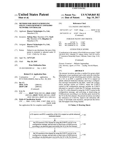 Method for group scheduling grant, user equipment and radio network controller: United States Patent 9769845 (English Edition)