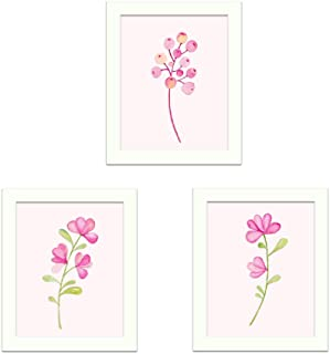 CUNYA 3 Sets 8 X 10in Pink Flowers Painting Canvas Art Wall Decor with Frames, DIY Printing Flower Fruit Picture Colorful ...