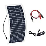 XINPUGUANG 10W 12V Flexible Solar Panel Monocrystalline Photovoltaic PV Module with DC Alligator Clip Cable for RV Boat Cabin Tent Car Trucks Trailers