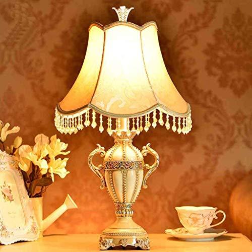 WEI-LUONG Lámparas de Mesa, Personalidad Moderna Simple de la Manera Creativa Sala Estilo Europeo Dormitorio de Noche Enciende la lámpara Decorativa, Pantalla de Tela Base de Resina de Lectura luz de