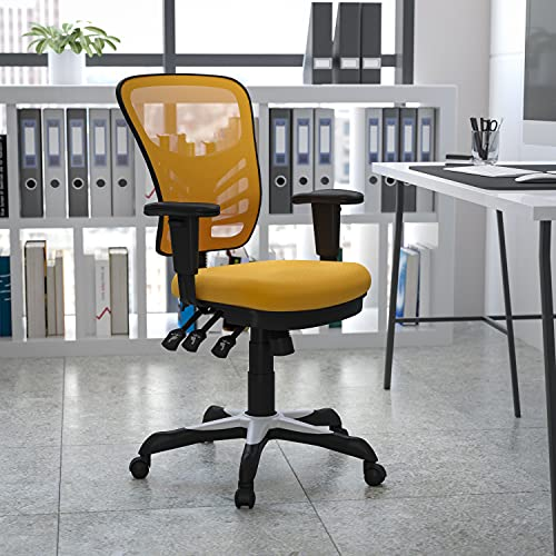 Flash Furniture Mid-Back Yellow-Orange Mesh Multifunction Executive Swivel Ergonomic Office Chair with Adjustable Arms
