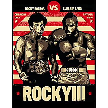 ROCKY BALBOA Movie inspired Boxing GYM Fitness Vintage Wall tin Plaque 20x15cm - Pub Shed Bar Man Cave Home Bedroom Office Kitchen Gift Metal Sign - Clubber Lang Striped