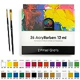 OfficeTree Acrylfarben Set 26 Tuben à 12 ml – Auf Wasserbasis – Acrylic Paint für Acrylmalerei – Für Papier, Leinwand, Holz, Stein UVM - 2