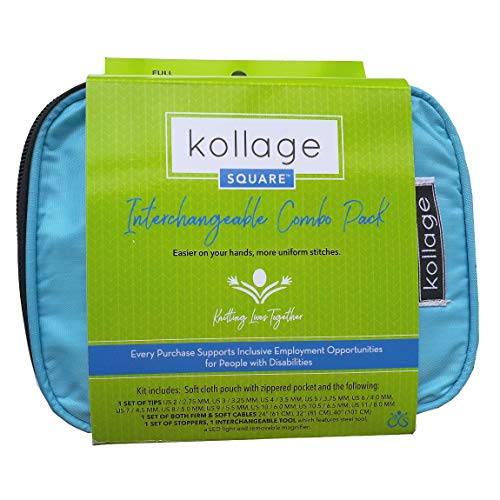 """Kollage Square Full Interchangeable Kit, 11 Sizes of 5.5"""" Tips, Firm & Soft Cables"""
