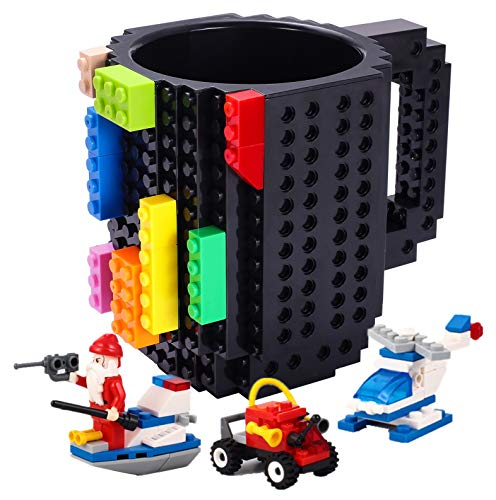 Triumphic Build-on Brick Mugs,with 3 packs of Blocks,Creative DIY Building Blocks Cup for Coffee Water Juice,Unique Fun Mug Compatible with Lego,Novelty Kids Party Cups for All Festival,Black
