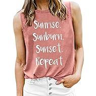 LOTUCY Sunrise Sunburn Sunset Repeat Tank Tops for Women Vest Vintage Country Music Racerback Workout Yoga T-Shirt Camis