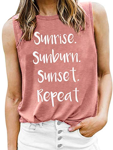 LOTUCY Sunrise Sunburn Sunset Repeat Tank Tops for Women Vest Vintage Country Music Racerback Workout Yoga T-Shirt Camis Pink
