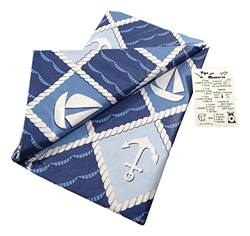 Blue and White Nautical Rope Patchwork Vinyl Tablecloth with Custom Magnet - Flannel Backing (52' x 70' Oblong)