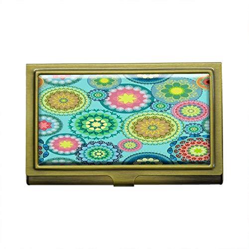 Mandala Background - Tarjetero para tarjetas de visita, personalizable, de metal, bronce, acero inoxidable, para tarjetas de visita, tarjetas de crédito, tarjetas de identificación, organizador