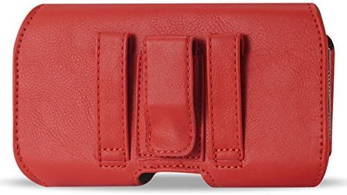 XXL Size Samsung Galaxy Note 5 /4 /3 /2 , S7 Edge Red Leather Belt Clip Pouch Case Cover Holster ( the phone with OTTER BOX Defender / LIFEPROOF / Extended Battery or Thick Case On)