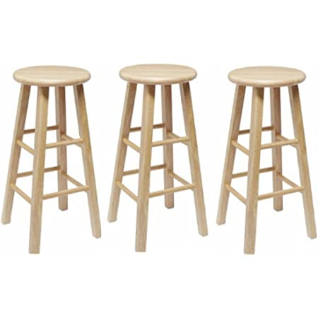 Amazon Com Mainstays 24 Fully Assembled Natural Wood Barstool 3 Piece Bar Stool Set Kitchen Dining