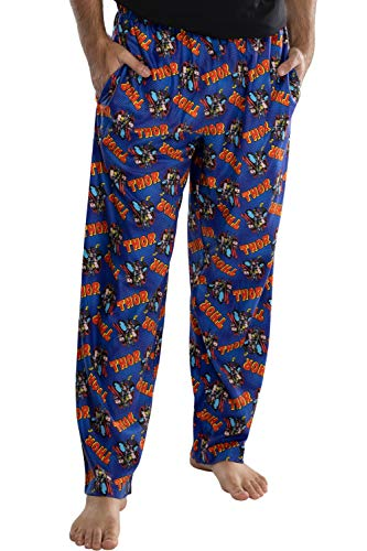 Marvel Comics Men's Thor Classic Comic Allover Print Loungewear Pajama Pants (LG) Blue