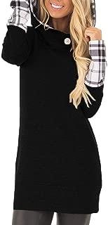 ETCYY Women's Long Sleeve Hoodie With Plaid Cuffs And Sweatshirt Hood Tops