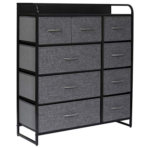 Kamiler 9-Drawers Dresser-Large Storage 4-Tier Tall Organizer Tower Unit with Sturdy Steel Frame Wooden Top Removable Fabric Bins for Bedroom Living Room Hallway Entryway ClosetsGray