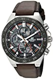 Casio Men's 'Edifice' Quartz Stainless Steel and Leather Watch, Color:Brown (Model: EFR-564BL-5AVCR)