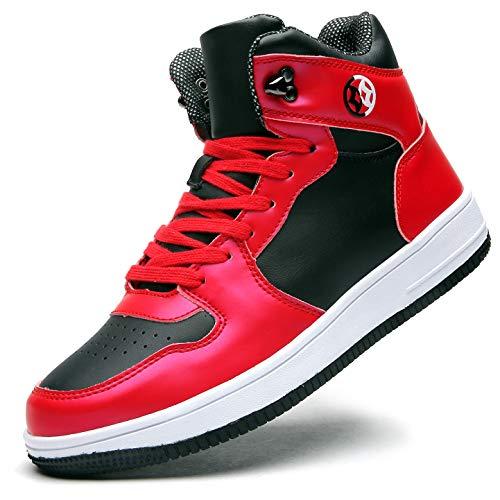 Gaatpot Herren Hohe Sneakers High-Top Turnschuhe Skateboard Schuhe Leder Atmungsaktiv Schnür Freizeit Running Sportschuhe Outdoor Laufschuhe