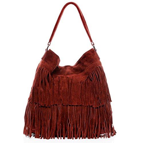 BACCINI® Borsa a secchiello vera pelle SAMIRA grande borsa a spalla Hobo bag donna cuoio rosso