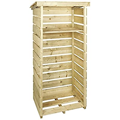 Charles Bentley Wooden Single Tall Log Store Firewood Garden Storage Unit - Slatted Design Raised Floor Slanted Roof