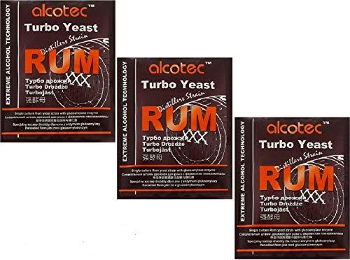 AlcoTec HUGBERT Turbohefe Rum + GA Vodka Alkohol Gärhefe Weinhefe Brennhefe gären, 3 Stück