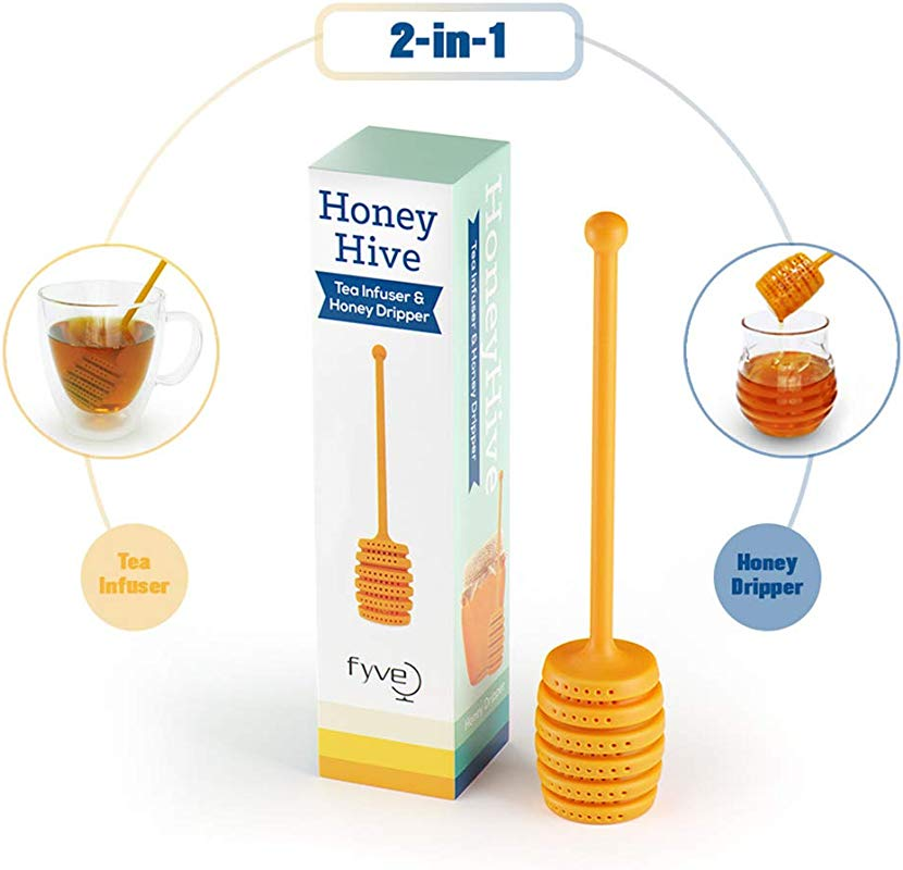 Honey Hive Tea Infuser Honey Dripper With Silicone Long Handle To Dip Honey And Bottom Honey Hive Shape For Loose Leaf Tea Strainer And Steeper By Fyve Global