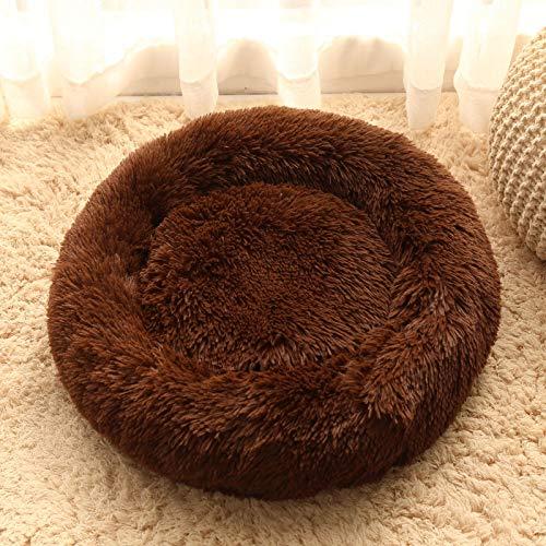 LHY Redonda Cama Perro Gato Cama Cama de Felpa para Mascota Lavable Sofa Suave Cachorro Calentito Cojín,Marrón,35.43in