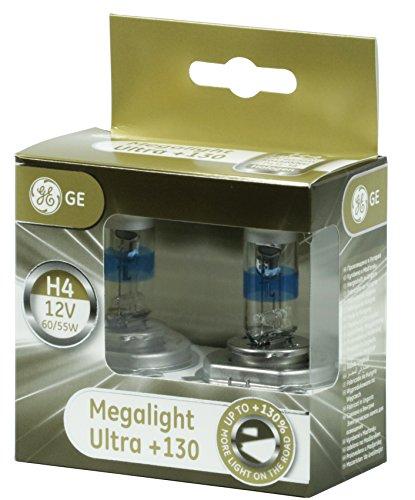 H4 12V 60 55W P43t MegaLight Ultra 130 Prozent 2 Stück GE 50440XNU Auto Llampe Abblendlicht Fernlicht Scheinwerfer Birne