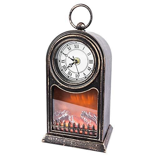 LED-Kaminfeuer mit Flammeneffekt | LED-Laterne | Uhr-Design | Mit funktionstüchtigem Uhrwerk | 27,5 cm hoch | Flammenlicht mit Timer (6 Stunden AN | 18 Stunden AUS)