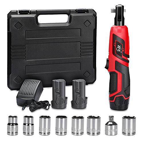 Cordless Electric Ratchet Wrench, ZFE 3/8 Inch 12V Power Ratchet Wrenches Set with 2pcs 2000mAh Lithium-Ion Battery and 1pc Fast Charger, 7pcs Metric Socket and 1pc 1/4 Inch Socket Adapter