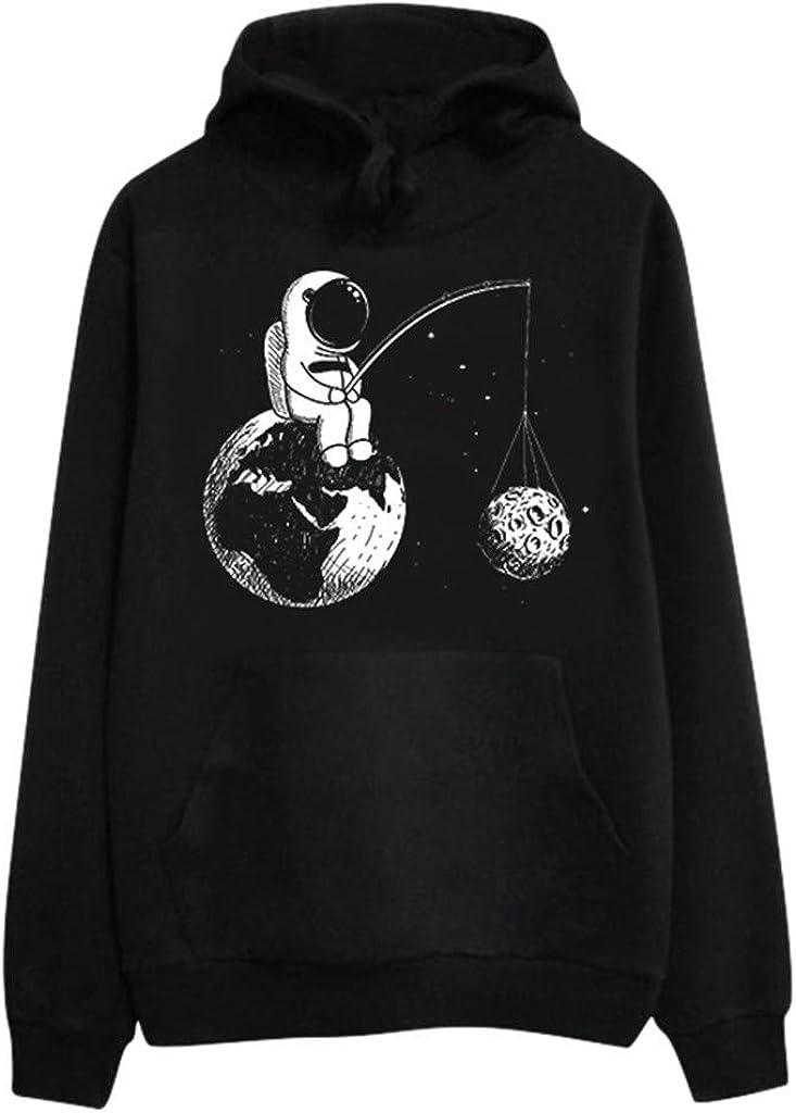 Girls' Hoodie, Misaky Casual Astronaut Cartoon Print Long Sleeve Hooded Pullover Sweatshirt Blouse Tops