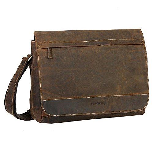 Green Burry,XXL Tasche, Überschlagtasche, Umhängetasche, Ledertasche, Damentasche, Herrentasche, Unisex,Business, Laptop,