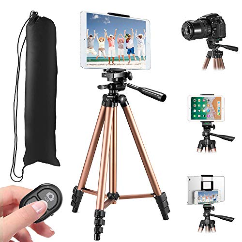 """MOREVON Tripod for ipad, [Latest Upgrade] 53"""" Tripod for iPhone Camera Tablet, Lightweight Aluminum Tripod Stand with Remote, Universal 2 in 1 Phone/Tablet Holder, for Smartphone, Tablet, Camera"""