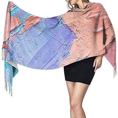 Zseeda Señoras Dibujado a mano Pintura al óleo Arte abstracto Bufanda de abrigo largo Reversible Suave Super Otoño Invierno Fringe Bufanda de cachemira
