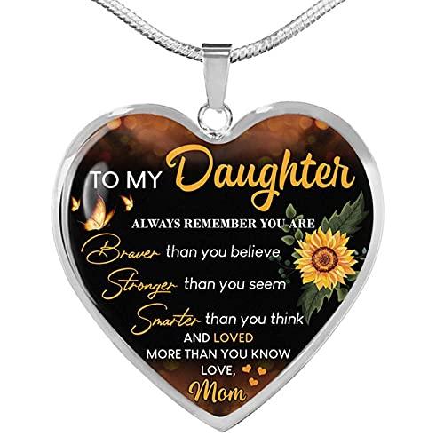 QAQV Collar De Epoxi De Oro Con Colgante De Corazón De Girasol Para Mujer Y Niña, Cadena De Serpiente, Regalo De Cumpleaños, Plata