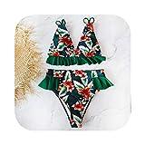 Traje de baño para mujer Bikini con estampado 2020 Traje de baño para mujer Traje de baño Push Up Bikini de cintura alta Halter Traje de baño sin espalda Ruffle Beach Wear Summer-LX19329D3-L