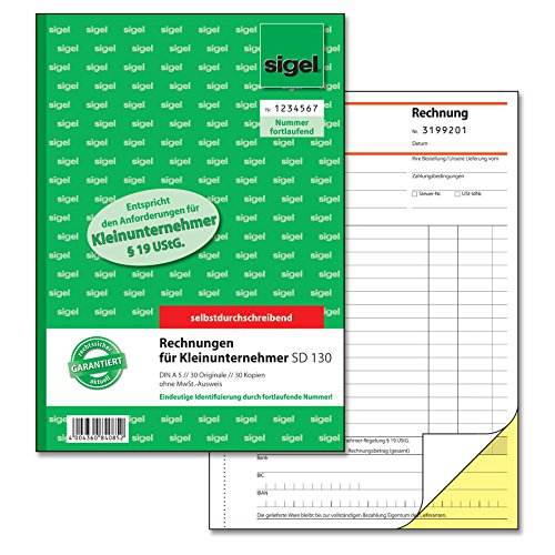 SIGEL SD130 Rechnungen für Kleinunternehmer A5, 2x30 Blatt, selbstdurchschreibend