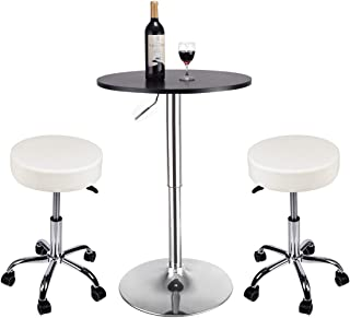 YOURLITE Pub Table and Chair Set, Set of 2 White Adjustable Hydraulic Rolling Swivel Salon Stool Chair with 1 Piece Black Wood Round Pub Table