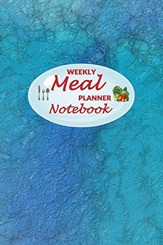 Weekly Meal Planner Notebook: 52 Weeks of Food Menu Planning with Grocery Shopping List, Recipe pages Size 6x9 in   Blue Ocean Print