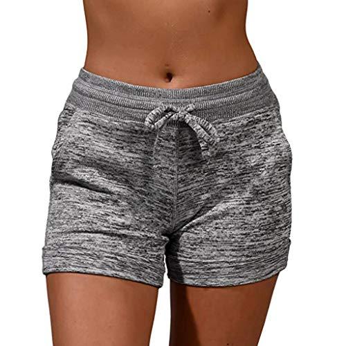 WOZOW Damen Sporthose Jogginghose Shorts Kurze Hose Casual Solid Einfarbig Basic High Waist Mini Hosen Freizeithose Stoffhose Tie Riemchen Slim Mode Yoga Pyjama Pajamas Trousers (S,Grau)
