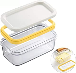 ShineMe Butter Dish Plastic with Lid and Slicer for Easy Cutting, Plastic Box for Butter Keeper Suitable for 7oz or Two 3.5oz Sticks Butter, Clear