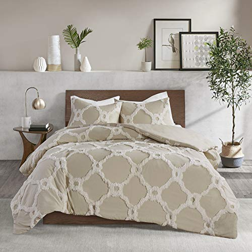 """Madison Park Tufted Chenille 100% Cotton Comforter All Season Bedding Set, Matching Shams, King/Cal King(104""""x92""""), Pacey Shabby Chic, Geometric Ogee Taupe"""