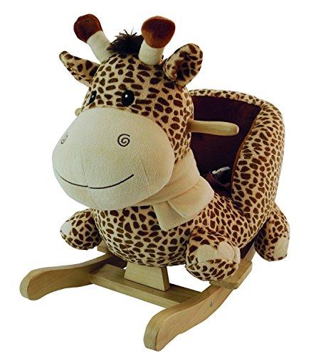 Bieco 74000500 - Plüsch Schaukeltier Giraffe, braun, Kinder Schaukelstuhl, Sicherheitsgurt und Rückenlehne, Plüschschaukel für Babys und Kleinkinder ca. 70,5 x 42,5 x 53 cm